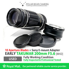 ⭐TESTED⭐ TAKUMAR 200mm F5.6 *10 Blades 1958 Ver.* M42+ Sony E-mount NEX Adapter