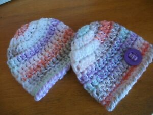 PACK X 2 HANDCROCHETED SOFT CHUNKY HATS...TO FIT 0-3 MONTHS LILAC BUTTON