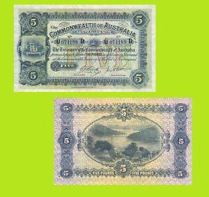 Australia 5 Five Pound Cerutty Collins 1918. UNC - Reproduction