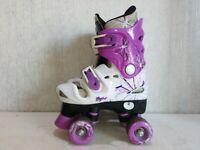 Osprey Adjustable Quad Roller Skates Kids Size UK 1-3 Pink & White
