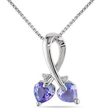 Amour Sterling Silver Tanzanite and Diamond Accent Heart Necklace