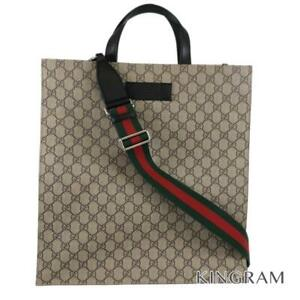 GUCCI GG Supreme 2WAY Cross Body Men's Tote Bag from Japan