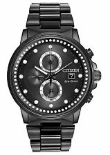 Citizen FB3005-55E Women's Eco Drive Nighthawk Black IP Swarovski Chrono Watch