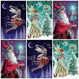 COOL YULE CHRISTMAS SANTA 12 Embellishments, Card Making Toppers, Card Toppers