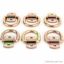 """6 - Bolt-On D-Ring 1/2"""" Cargo Strap Tie Down Flatbed Truck Trailer Rings"""