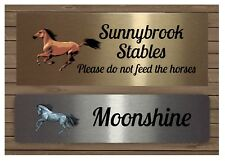HORSE CUSTOM-MADE SIGN Personalised Blank Stable Plaque: Add Own Text or Name