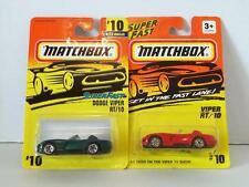 MATCHBOX DODGE VIPER RT/10 #10 LOT RED GREEN MINT ON CARD DIECAST 1995 & 96