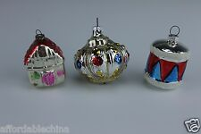 Antique 3 Christmas Ornaments Made In Germany & Japan Drum House  Mercury Glass
