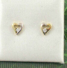 Sassi E1014YW Ladies 9ct 375 Gold Heart Shape Cubic Zirconia CZ Stud Earrings