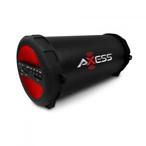 Red Loud Axess Portable Bluetooth Speaker With FM Radio and Aux-inputs