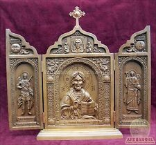 Orthodox Carved Triptych ICON Lord Almighty,Michael Gabriel Archangels