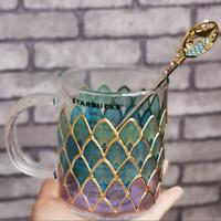 Starbucks Blue Fish Scale Glass Coffee Mug W/ Stir stick Rod Cup Limited Edition