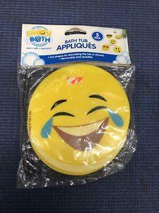 "CB2- 5"" Removable Yellow Bathtub Emoji Appliques, 5Pack Appliques suction cup"