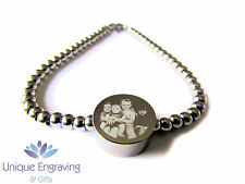 Personalised Photo / Text Engraved Round Charm Bracelet - Ideal Christmas Gift!