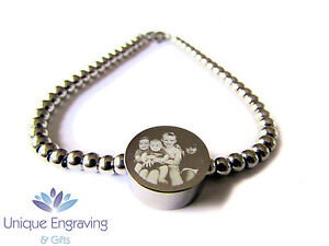 Personalised Photo / Text Engraved Round Charm Bracelet - Ideal Mothers Day Gift