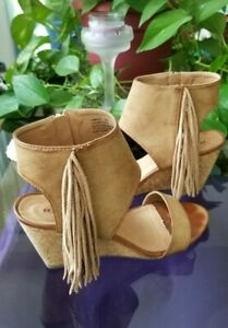 Rampage Western Style Women's Size 9 Taupe Leather Fringe Wedge Heeled Shoes