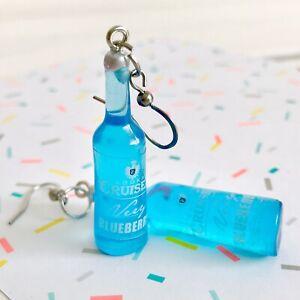 Cute Miniature Blueberry Vodka Cruiser Bottle Fun Dangle Earrings / Festival