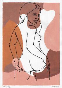 original painting A3 616DO art samovar modern ink and Gouache female nude