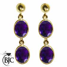 Drop/Dangle Amethyst Natural Oval Fine Earrings