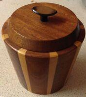 Vintage Lancraft Laminated Wood Ware Ice Bucket tea coffee sugar caddy 1960'S