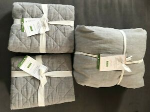 Pottery Barn BELGIAN FLAX LINEN DUVET COVER KING AND 2 EURO SHAMS NWT