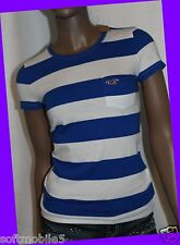 Hollister Co Womens Striped BLUE & WHITE Short Sleeved Shirt Tee XTRA SMALL XS