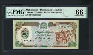 Afghanistan 500 Afghanis 1991 P60c Uncirculated Grade 66