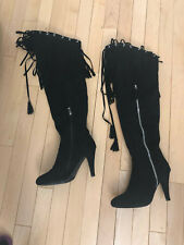 Bucco Sexy Black Fringe Over Knee Fashion Heel Boots Size 7