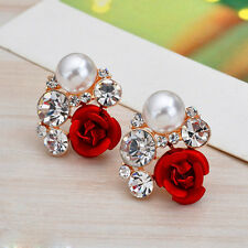 Elegant Women Gold Plated Rose Flower Pearl Rhinestone Crystal Ear Stud Earrings