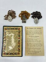 Lot of 3 Vintage St Anthony Rosary / Chaplet with 2 prayer cards