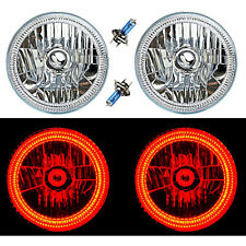 "7"" SMD Red LED Halo Angel Eyes H4 Headlamp Headlight Halogen Light Bulbs Pair"