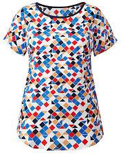 Geometric Short Sleeve Polyester Hip Length Women's Tops & Shirts