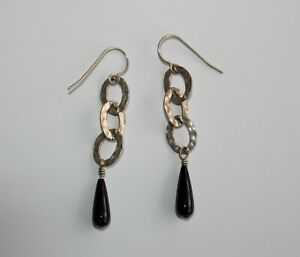Silpada Oxidized Hammered Ovals Sterling Black Onyx Earrings W1281  23B1