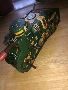 Vintage Marx Toys Tin Litho Wind-Up War Era Toy Tank Made In USA