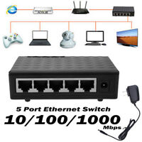 Min 5-Port 10/100/1000Mbps Fast LAN Ethernet Network Switch Adapter HUB US Plug