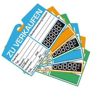 25x KFZ-Verkaufsschild zur Befestigung am Innenspiegel (digitale) Preisschild