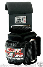 Power Weight Lifting Training Gym Hook Grips Straps Wrist Support Bandage Black
