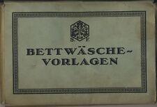 Bettwäsche-Vorlagen von S. F. Mappe mit 8 Stück um 1920