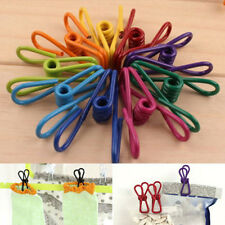 Metal Clamp Clothes Laundry Hangers Strong Grip Washing  Pin Pegs Clips 10X HGUK