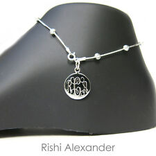 Moon Bead Monogram Personalized Anklet 925 Sterling Silver Diamond-Cut Snake