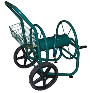 Steel Hose Reel Cart with Storage Basket 2 Wheels For Lawn or Garden Hold 300 ft