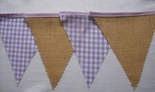 Lilac Gingham Hessian Fabric Bunting Birthday Party decoration Gift 4mt or more