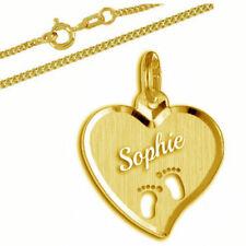 Herz mit ausgestanzten Babyfüßen-Silber 925- gelbgold vergoldet- Kette&GravuR