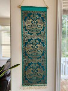 Wall decor/ Wall hanging/ Tapestry, Silk, Brocade, Ready to hang, Art, Green