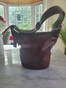 COACH Duffle Bag Bleecker Bucket Shoulder Convertible Sac Red Wine Leather 11422