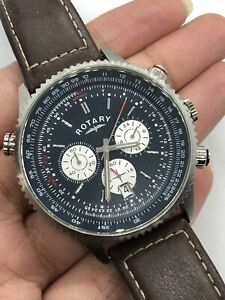 Rotary Men's Chronograph Blue Dial Date Leather Watch GS03642/05 RRP £175