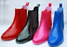 WOMEN UNLINED RUBBER RAIN BOOTS CHOICE OF BLACK FUCHSIA RED ROYAL  6 7 8 9 10 11