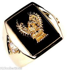 Golden Eagle Black Onyx April Clear CZ Birthstone Men Jewelry Ring Size 14