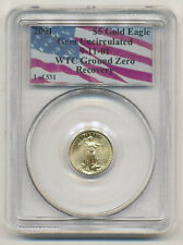2001 $5 GOLD EAGLE 911 WTC GROUND ZERO RECOVERY PCGS GEM UNC.1 of 531  Scarce!