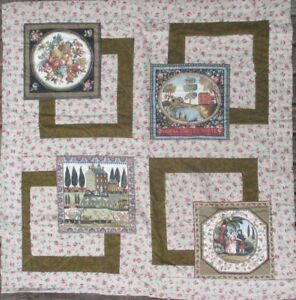 Handmade Lap Quilt Wall Decor Home Sweet Home Fall Farm Scene Brown 36 x 38